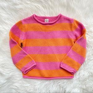 Garnet Hill Striped Sweater Pink & Orange